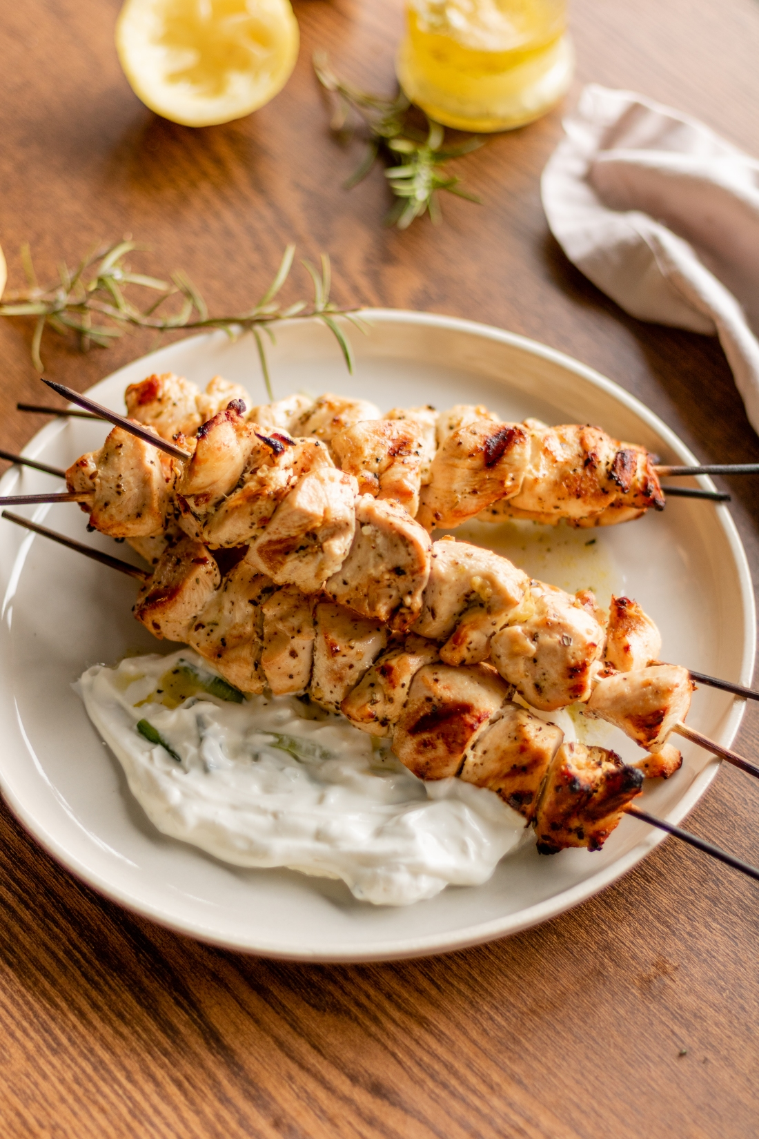 Chicken Souvlaki With Tzatziki Chez Chanelle